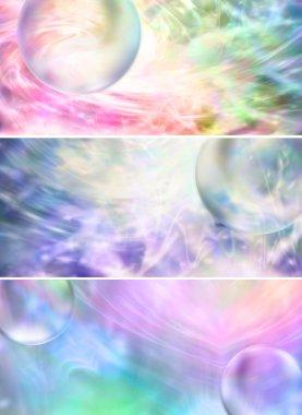 Transparent bubbles on colorful backgrounds x 3