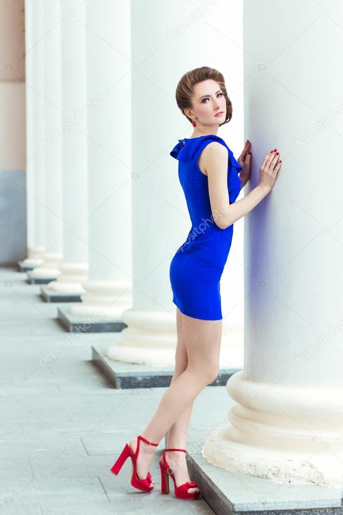 Vestido azul zapato