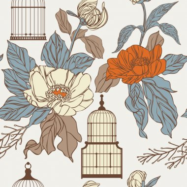 Pattern with birdcages and leaves