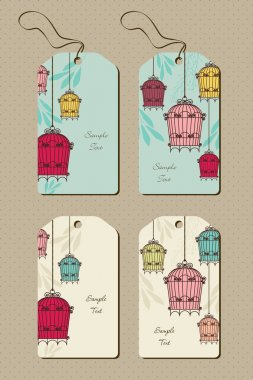 vintage set of tags with birdcages