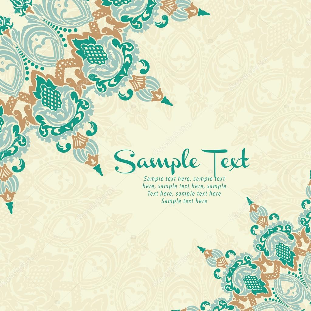 Vector card in east style on moroccan seamless background — Stock ...