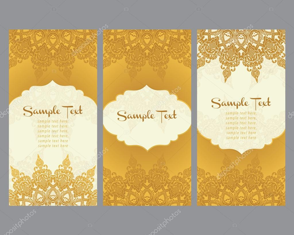 greeting cards  in east style on gold background