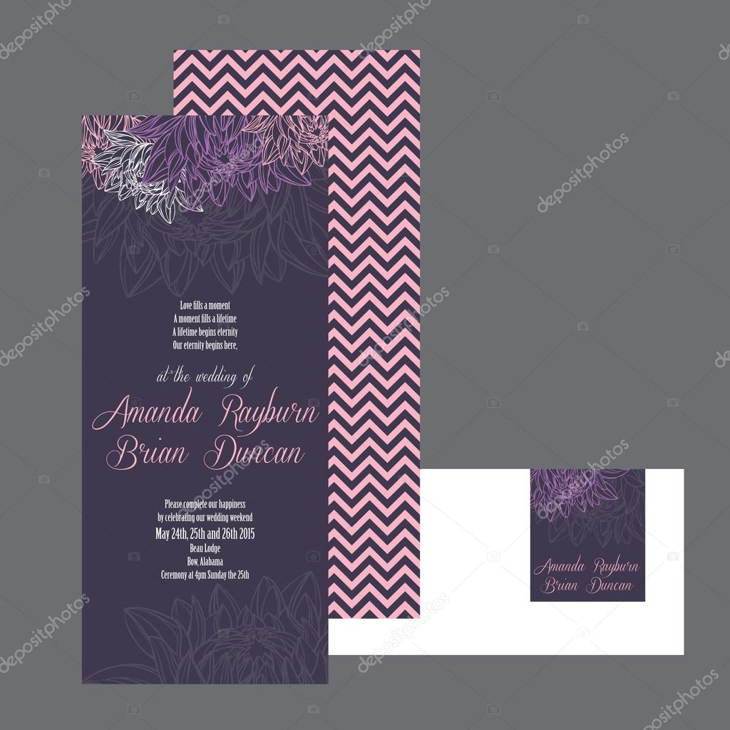 Set of wedding invitations card purple background