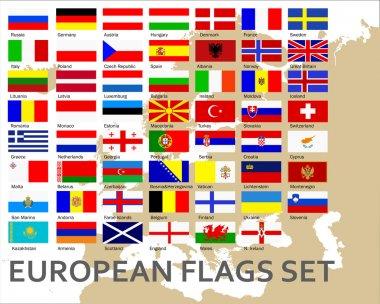 European countries flags set, vector