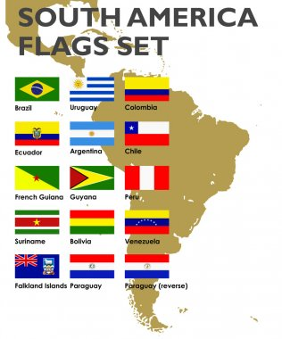 South America's vector flags set, vector