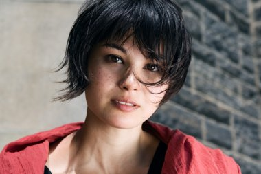 Japanese girl with short hair with freckles