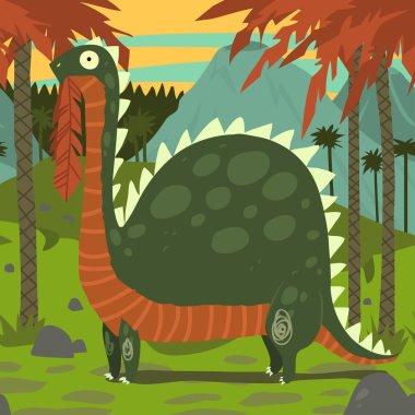 Dinosaur Eating Leaves