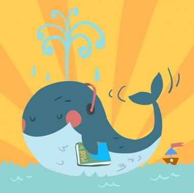 Whale in headphones in the ocean