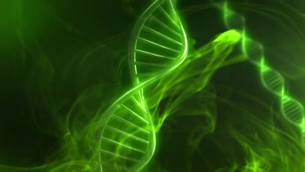 Green DNA Strand Glow in Slow Motion - 3D Animation