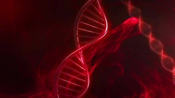 Red Blood DNA Strand Glow in Slow Motion - 3D Animation