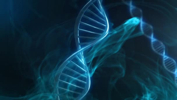 Blue Blood DNA Strand Glow in Slow Motion - 3D Animation