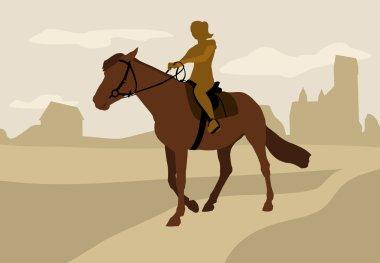 Girl on horseback, silhouette