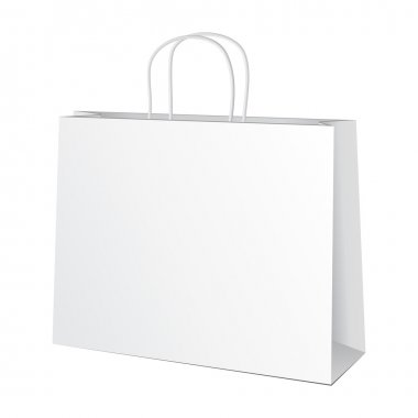 Carrier Paper Bag White. Illustration Isolated On White Background. Ready For Your Design. Product Packing Vector