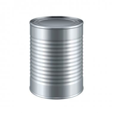 Tincan Ribbed Metal Tin Can, Canned Food. Ready For Your Design