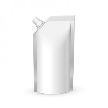 White Blank Foil Food Or Drink Bag Packaging With Lid. Plastic Pack Template Ready For Your Design. Vector EPS10