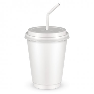 White Disposable Paper Cup With Lid And Straw