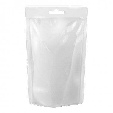 White Blank Foil Food Or Drink Bag Packaging With Hang Slot Blister. Plastic Pack Template Ready For Your Design