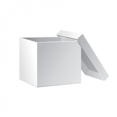 Open White Cardboard Carton Gift Box With Lid. Illustration Isolated On White Background. Vector EPS10