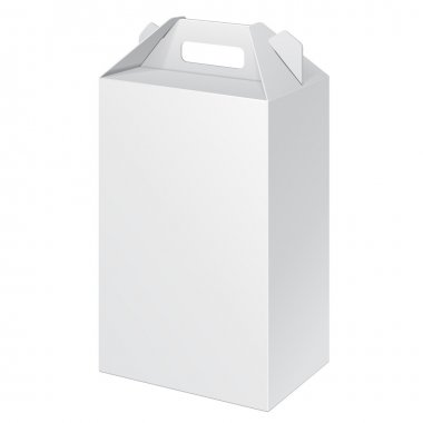 White Tall Cardboard Carry Box Packaging For Food, Gift