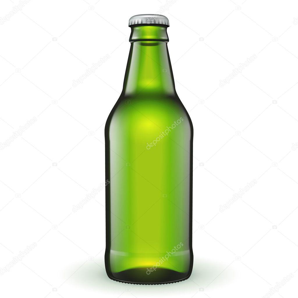 Short Glass Beer Green Bottle On White Background