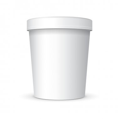 White Food Plastic Tub Bucket Container With Handle For Dessert, Yogurt, Ice Cream, Sour Sream