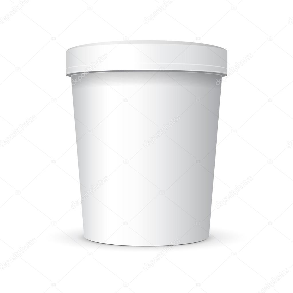 White Food Plastic Tub Bucket Container With Handle For ...