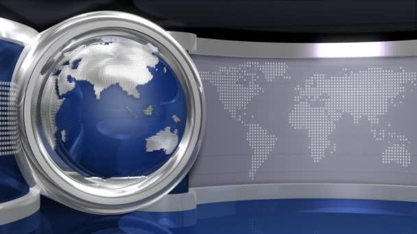 Blue Virtual News Studio With Globe Animation