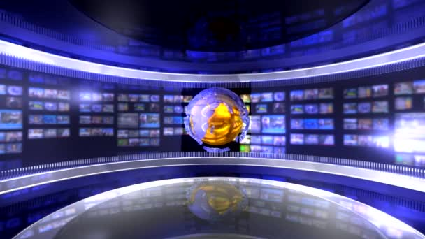 Virtual news studio with globe