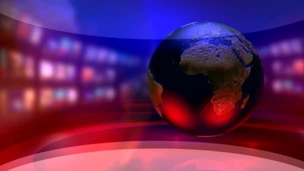 Virtual news studio with globe