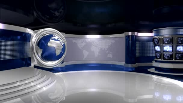Blue Virtual News Studio With Globe Animation