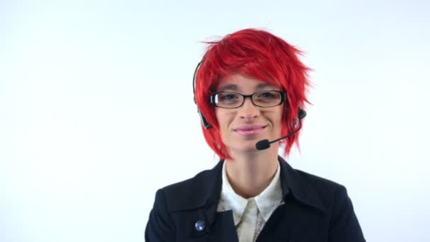 Support woman with headset in red wig