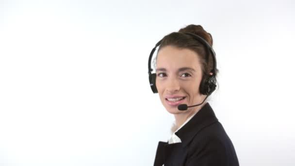 podpora žena s headsetem