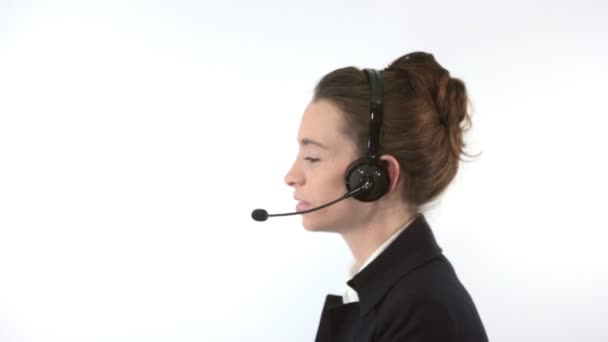 Support woman talking with a headset
