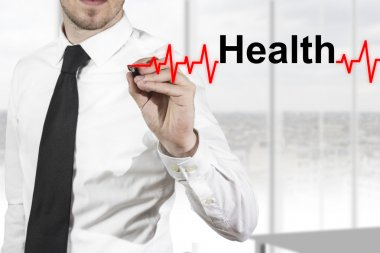 Doctor in hospital drawing heartbeat line with healt in the air stock vector
