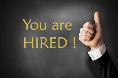 you are hired chalkboard thumbs up