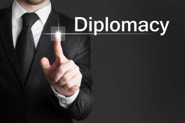 businessman touchscreen Diplomacy