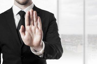businessman hand stop