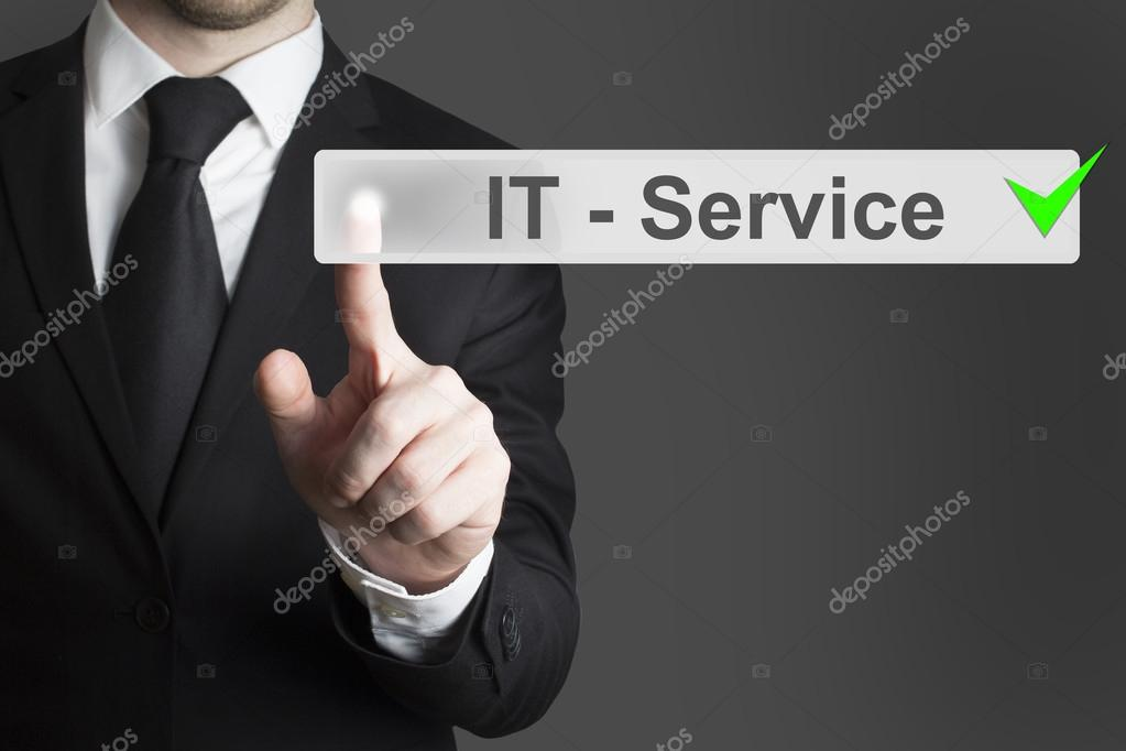 businessman pushing button it service checked