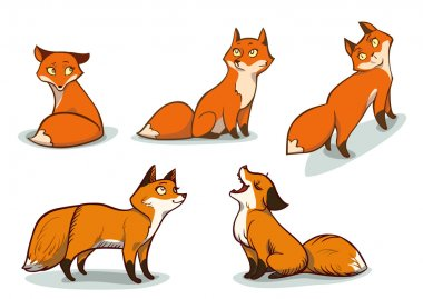 Funny cartoon foxes. Character design. EPS 10. stock vector