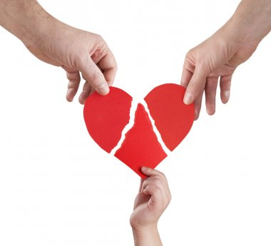 Family hands connecting torn pieces of hart, clipping path included stock vector