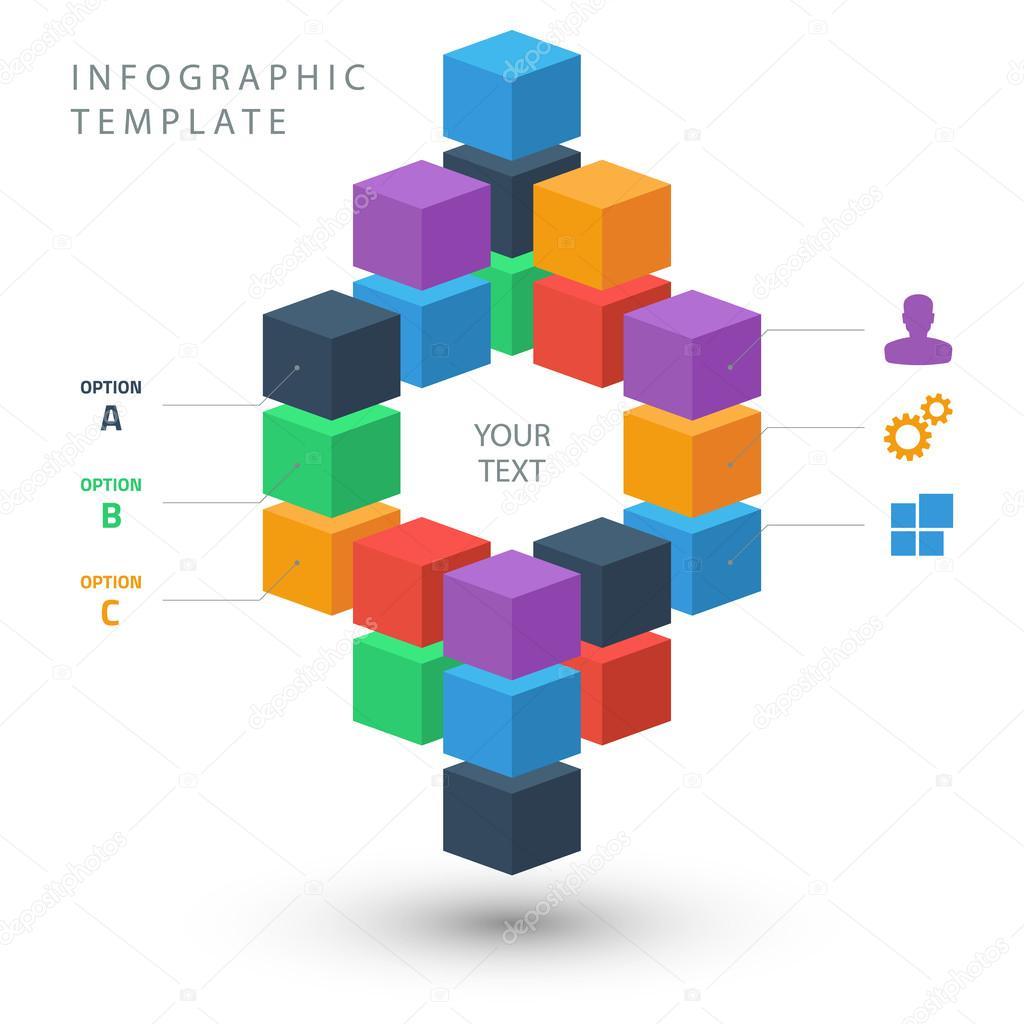 plantilla de gráfico color cubos información para su presentación en ...