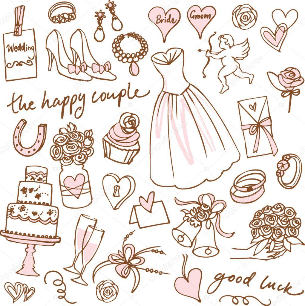 Set of beautiful wedding doodle vectors