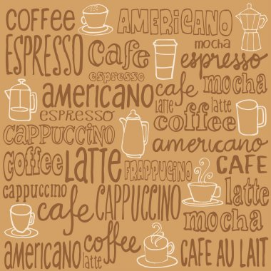 Coffee icons and words