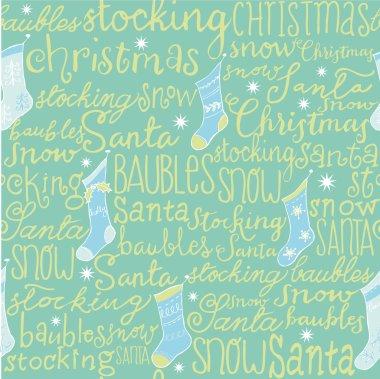 Christmas words & stockings seamless pattern