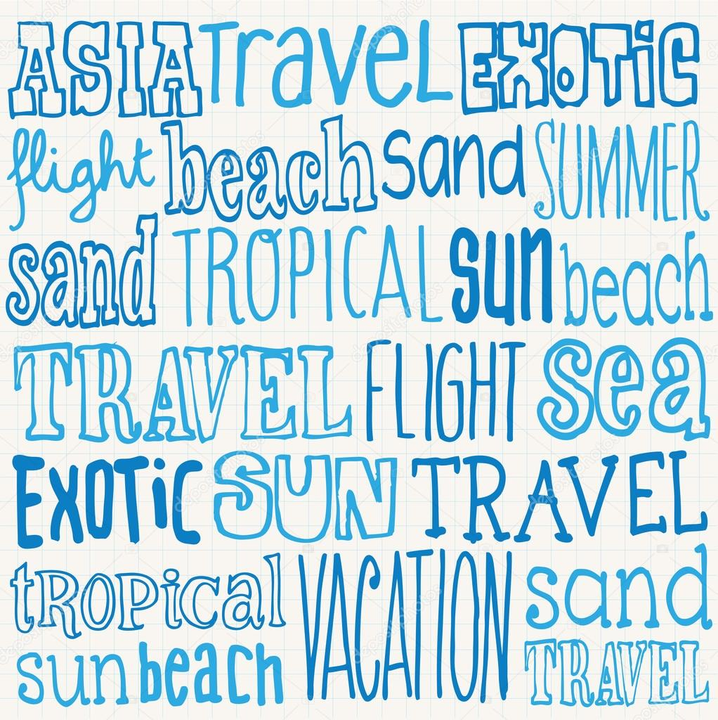 vacation travel words stock vector omw 47902513