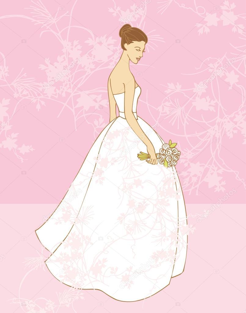 hermosa novia vestido de novia — Archivo Imágenes Vectoriales © OMW ...