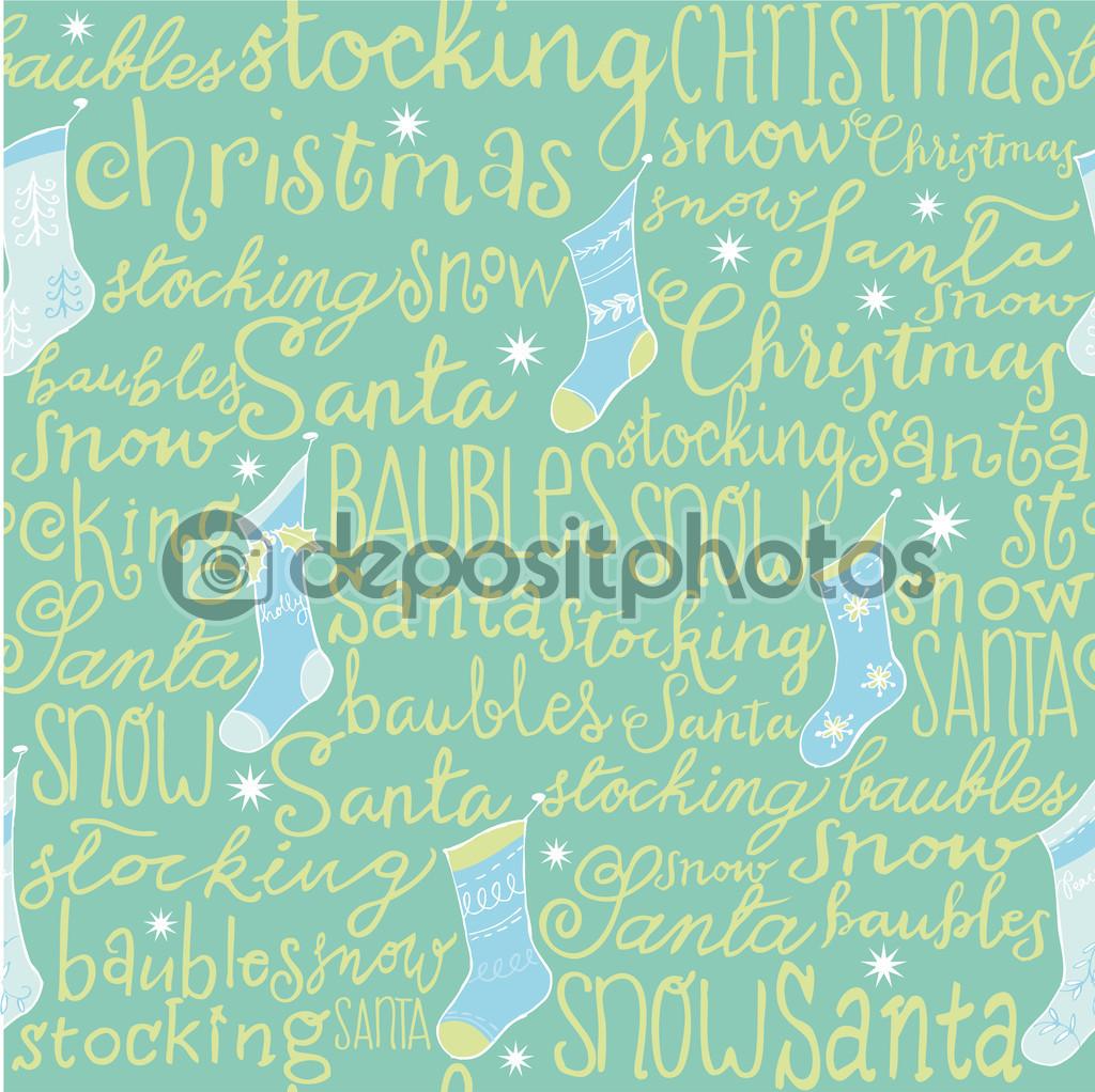 Weihnachten Wörter & Strümpfe nahtlose Muster — Stockvektor © OMW ...