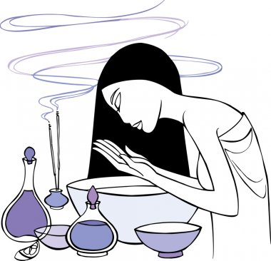 Lady with aromatherapy oils