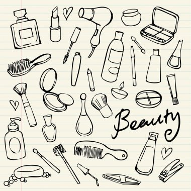 Beauty and cosmetics icons vector doodles clip art vector