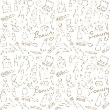 Cosmetics and beauty icons vector seamless pattern stock vector